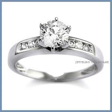 elegante anillo de compromiso oro blanco de 14k envio