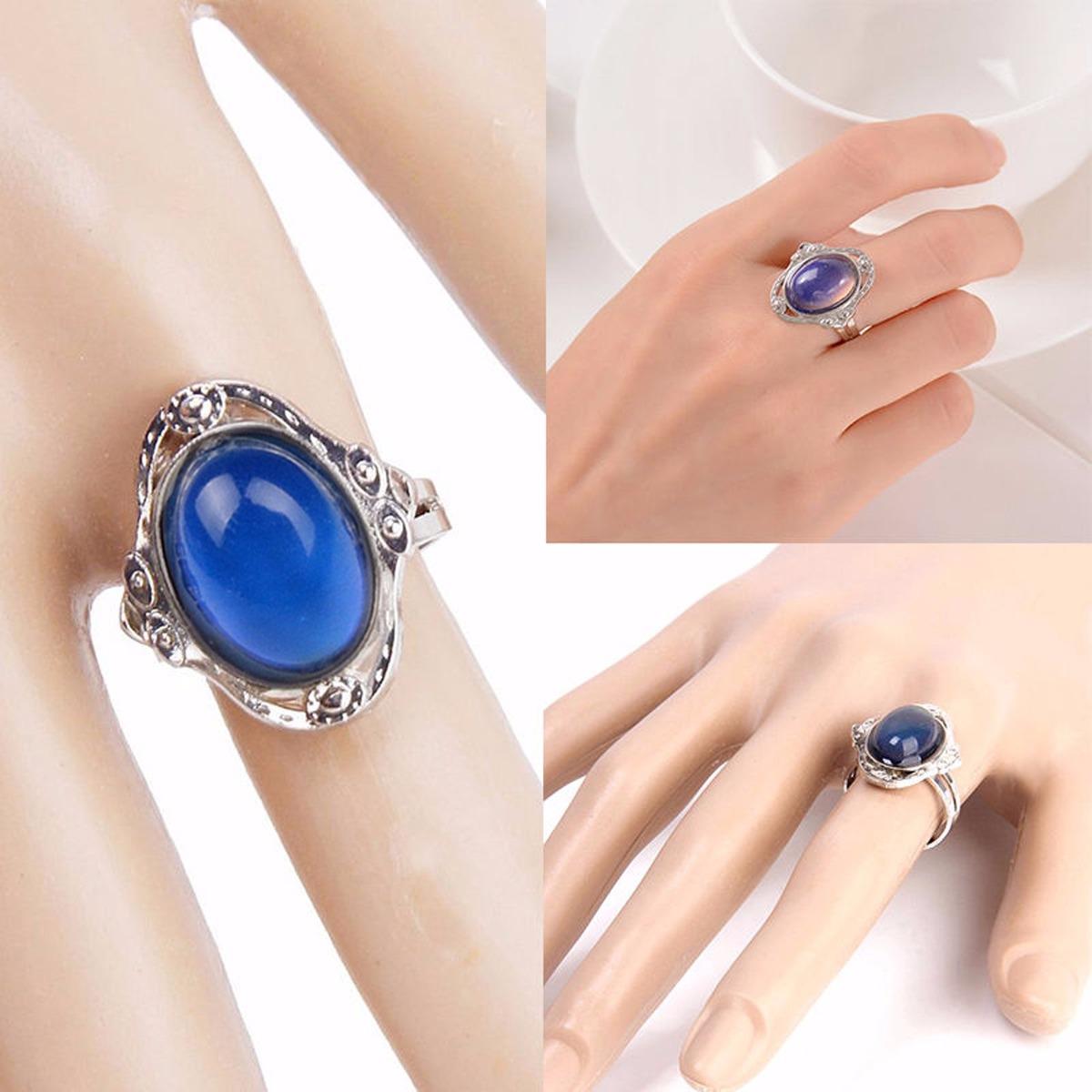 elegante anillo del humor oval cambia color medida ajustable. Cargando zoom. 4dbae95f14f