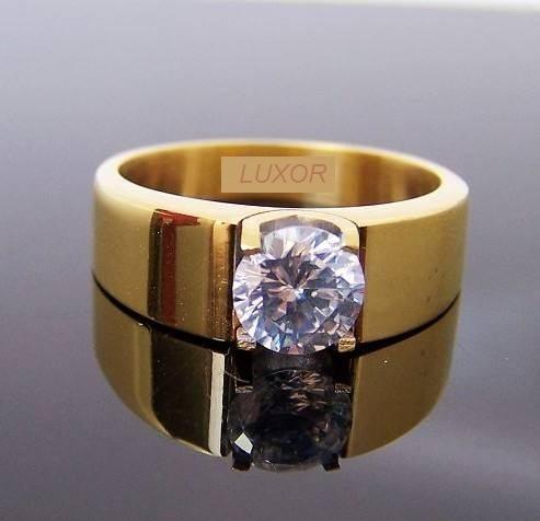 elegante anillo solitario moda titaniun acero talla 7