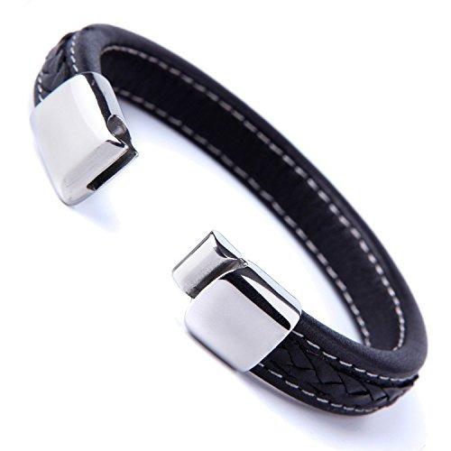 elegante brazalete de cuero genuino negro para hombres con