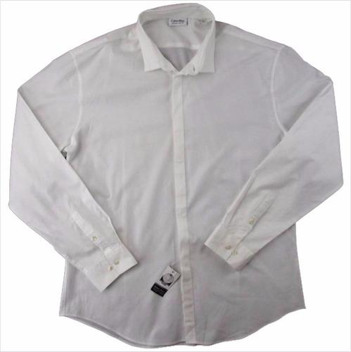 elegante camisa blanca para caballero calvin kle t 17 34/35