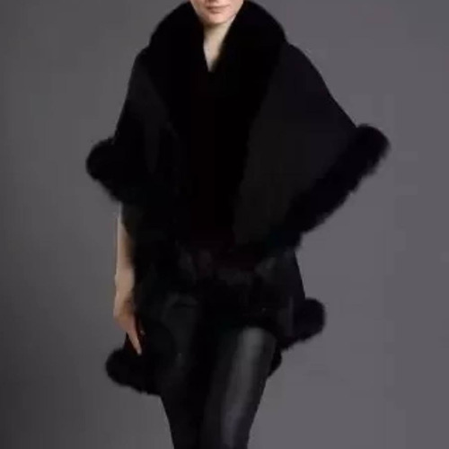 elegante capa doble abrigo poncho peluche fax fur fiesta