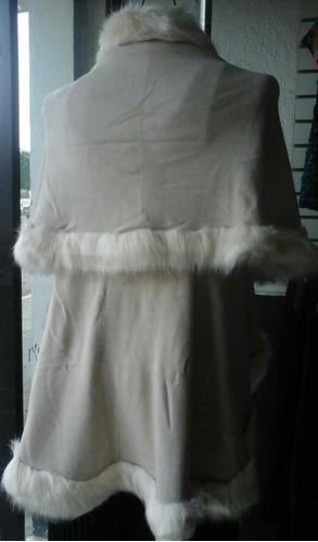 elegante capa doble abrigo poncho peluche sintético fiesta
