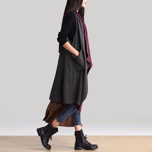 elegante chaleco gabardina doble vista para mujer 6502