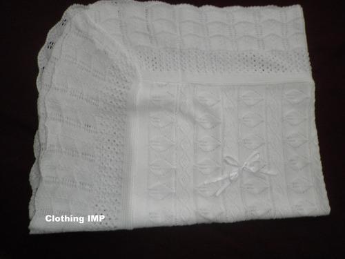 elegante cobija tejida de punto cobertor blanc bautizo ropon