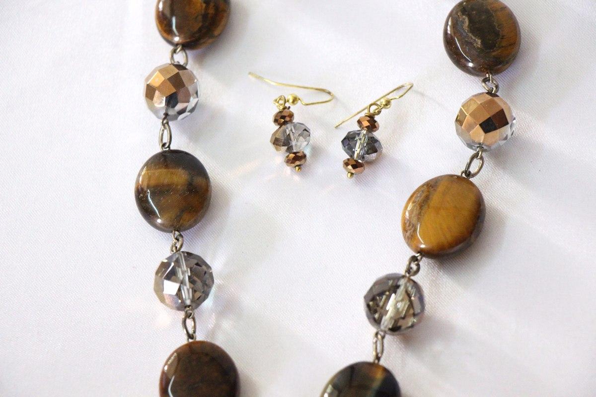 super popular 5fdcd a147b Elegante Collar Y Aretes Piedras Naturales Importado - $ 749.00