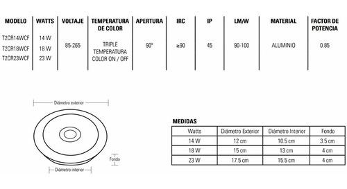 elegante cupula = panel led redonda 18w 2 tonos calido frio