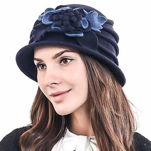 elegante de la flor de la mujer cloche cubo ridgy bowler hat