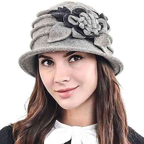 elegante de la flor de lana cloche cubo ridgy bowler hat 09-