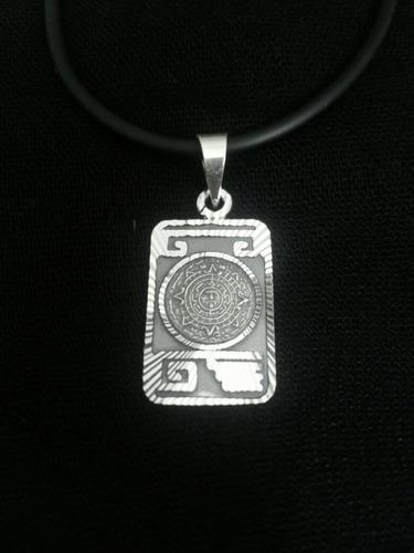 elegante dije de calendario azteca diamantado plata ley 925
