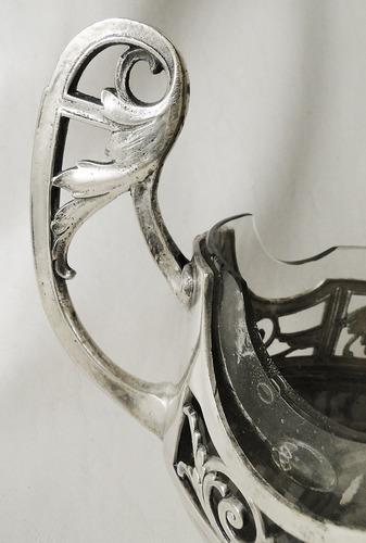 elegante jardinera estilo frances metal plateado impecable!!