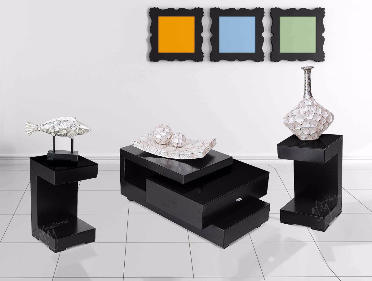 Elegante juego 3 mesas de centro sala vidrio negro for Mesas de centro en vidrio