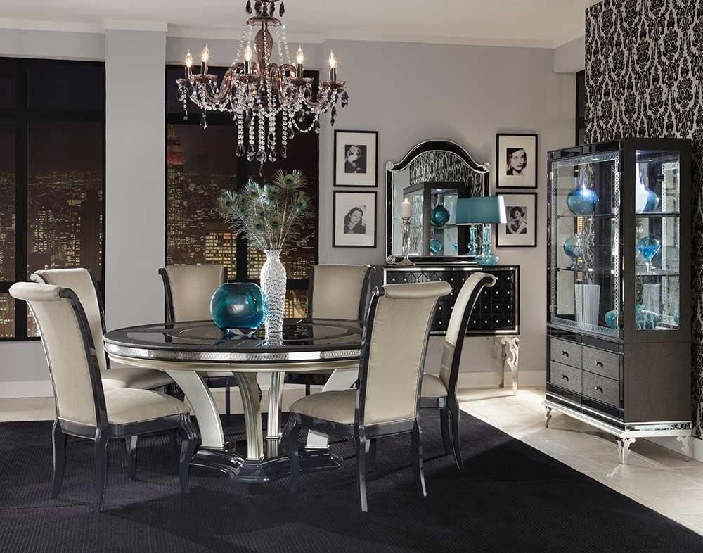Elegante juego de comedor de 6 sillas y mesa redonda for Sillas de comedor elegantes