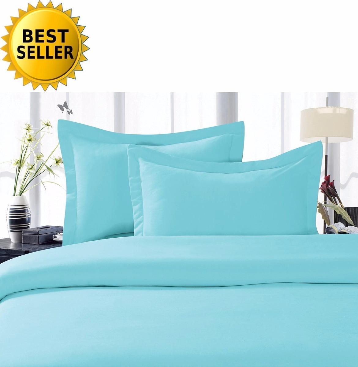 Elegante juegos de s banas de cama 4 piezas queen aqua for Sabanas para cama queen size