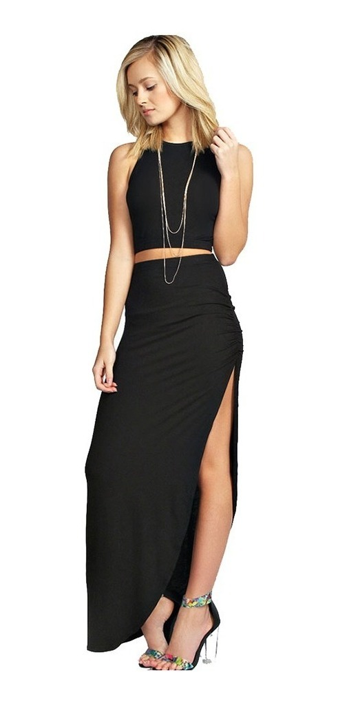 35d4c19df Elegante Kit Falda Blusa Top Moda Para Mujer Dama 5135