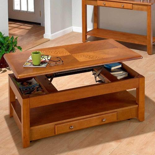 elegante mesa de centro con niveles jofran oak importada