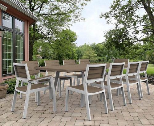 elegante mesa extendible para jardín, exteriores, interiores
