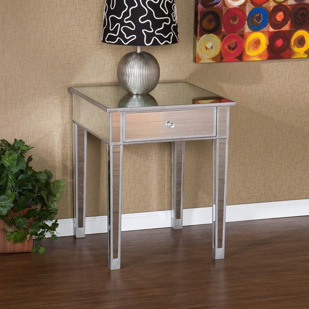 elegante mesa para sala con acabado espejo south e