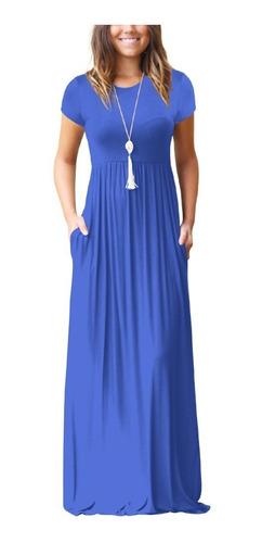 elegante mujeres maxi largo vestido corto mangas o bolsillos