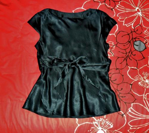 elegante poleta de raso negra talla s