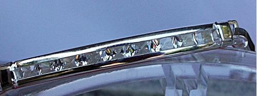 elegante pulsera plata 9 zirconias esclava personalizada