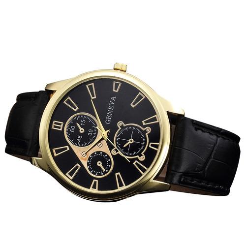 elegante reloj hombre cuero pu cuarzo oficina brazalete dama