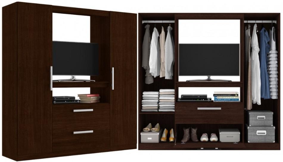 Elegante ropero placard con espacio para tv dormitorio for Roperos de melamina para dormitorios