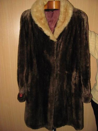 elegante sacón largo - tapado, autentico, cuello claro