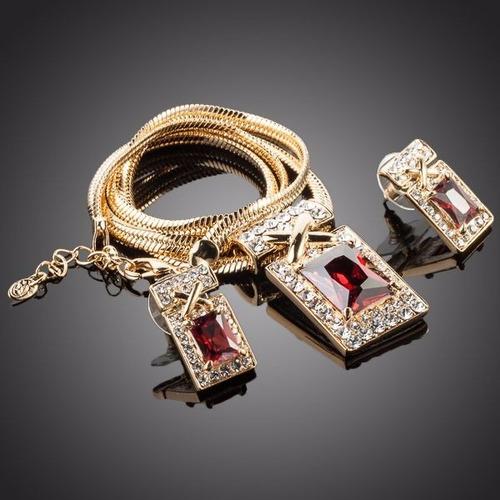 elegante set de zirconia rojo oscuro chapa de oro 18k