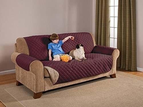 elegante sofá reversible de lujo para muebles, borgoña / tan