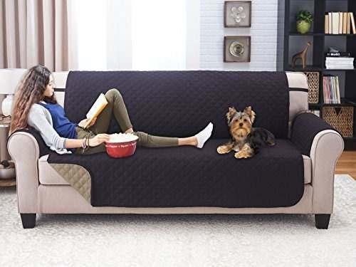 elegante sofá reversible de lujo para muebles, negro / taupe