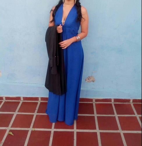 elegante vestido azul largo de fiesta talla m