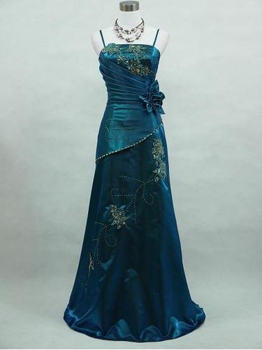 elegante vestido azul turqueza