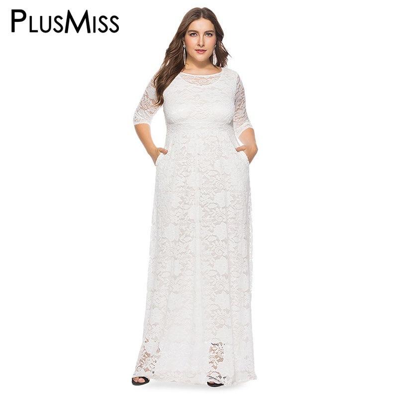 d8d03cbcb09a Elegante Vestido Blanco De Encaje Con Manga Tres Cuartos
