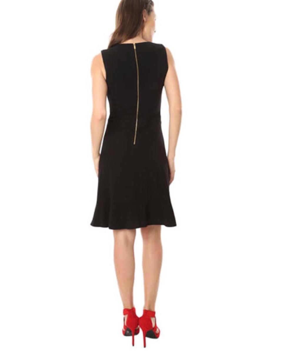 00ddae0b2a elegante vestido calvin klein negro escarola corto t6 formal. Cargando zoom.