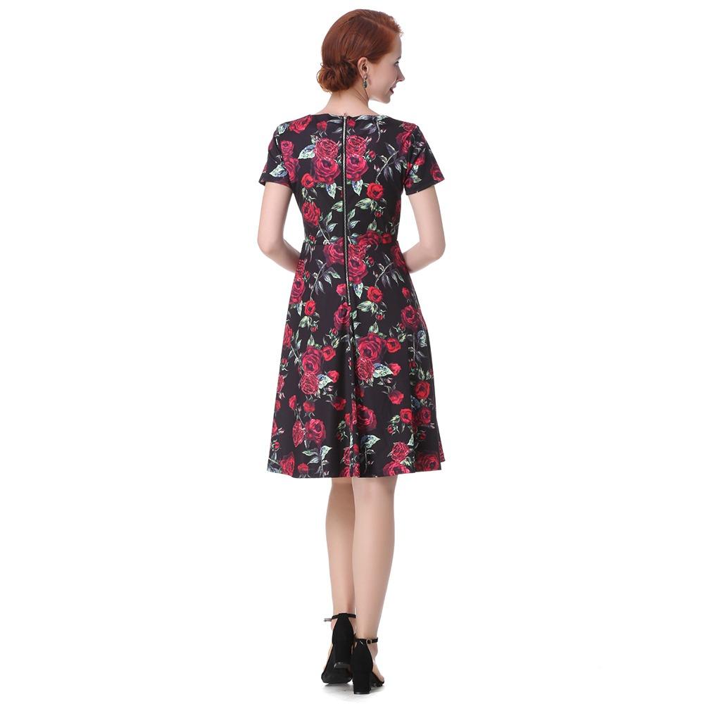 28fdaef63 elegante vestido casual dama retro estampado flores fiesta. Cargando zoom.