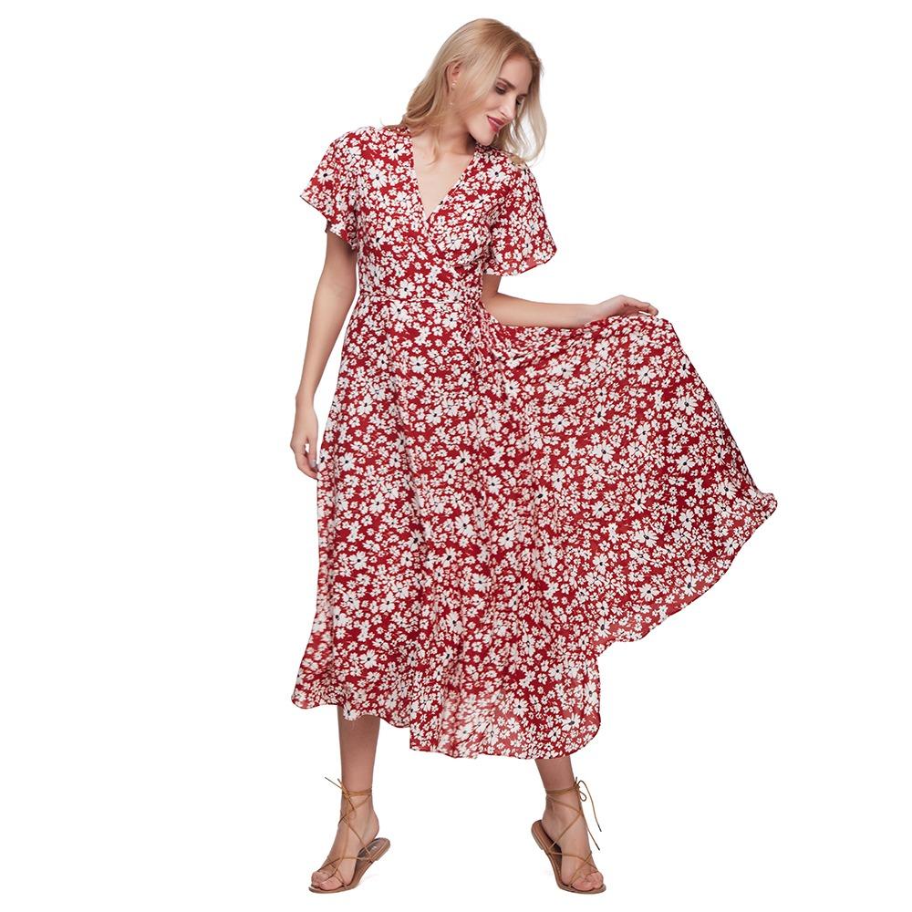 f61fd82a18fea elegante vestido casual dama v-cuello estampado flores moda. Cargando zoom.