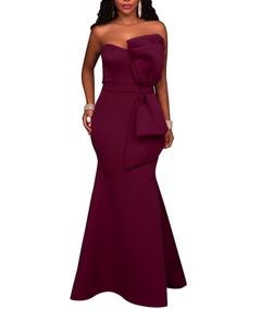 8a9be3399f4e Elegante Vestido Dama Diseño De Moño Visible Corte Sirena