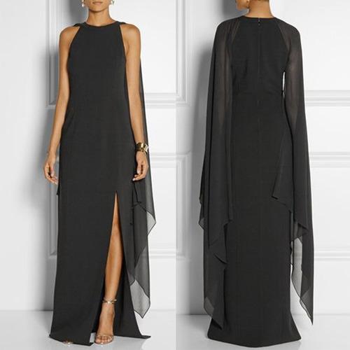 elegante vestido de noche largo con manga abierta