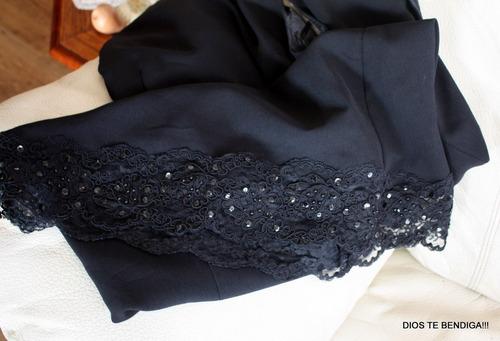 elegante vestido de noche negro con encaje frances ts
