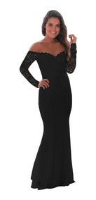 Elegante Vestido Fiesta Noche Largo Sin Hombro Encaje 61847