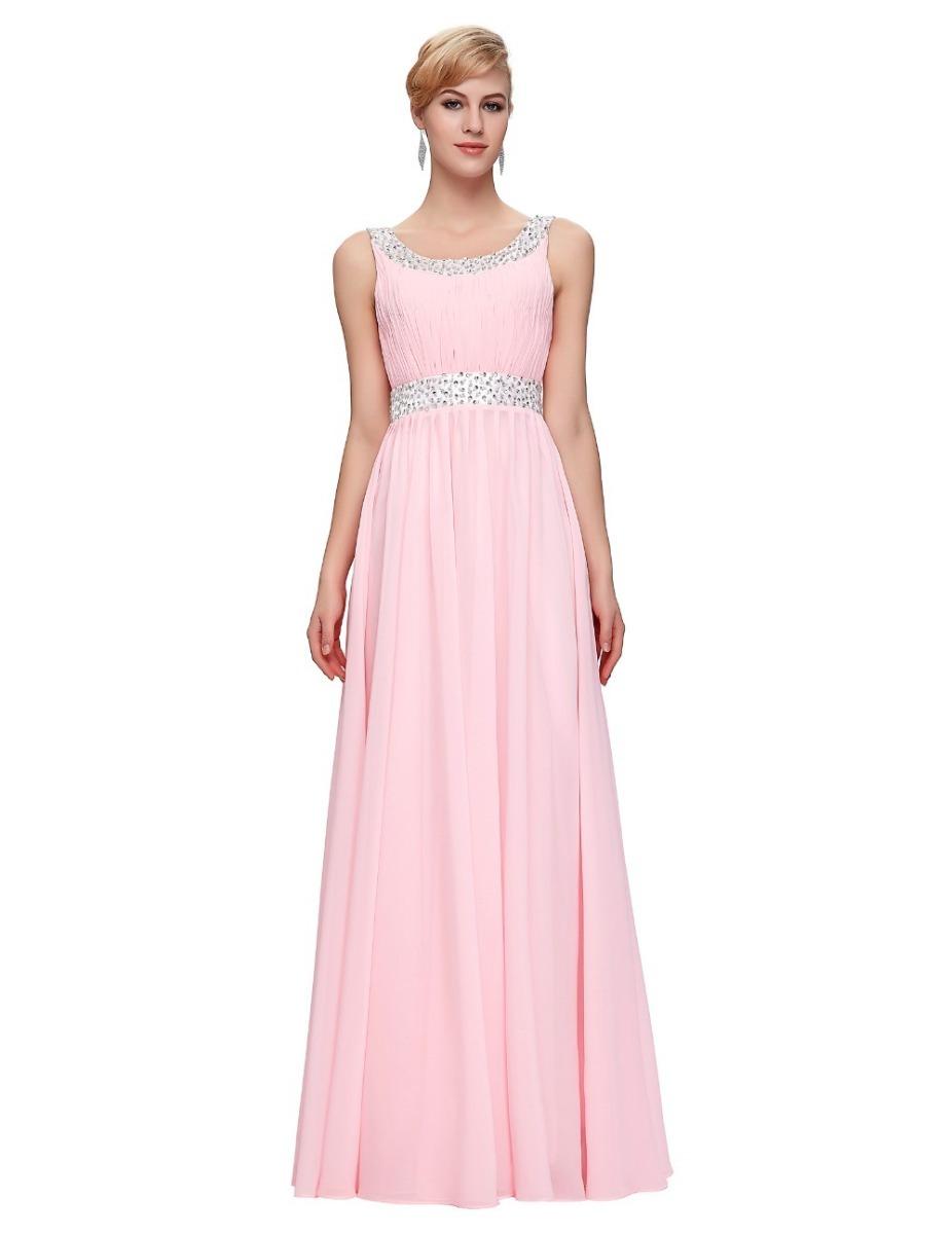 Elegante Vestido Fiesta Noche Rosa Pastel Extra Envío Gratis ...