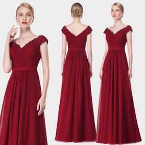 90422e3056 Elegante Vestido Fiesta Rojo Borgoña Gasa Encaje Importado