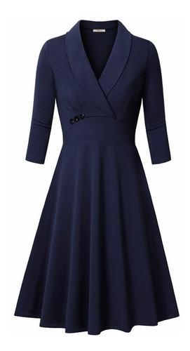 elegante vestido formal manga 3/4  azul marino va 261