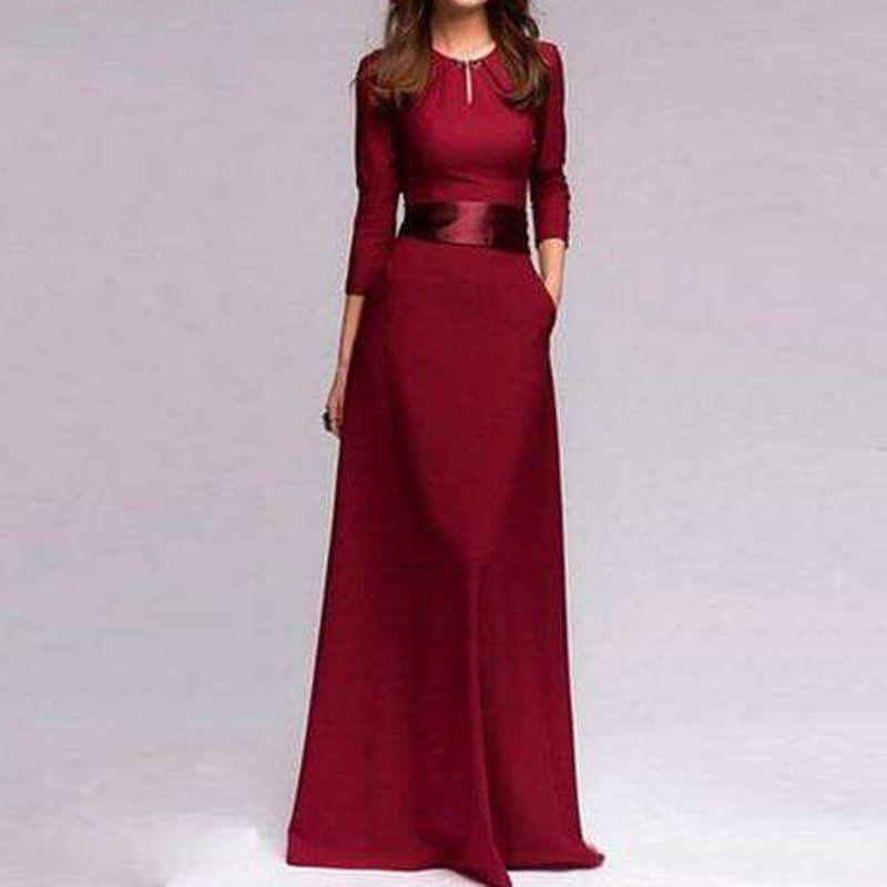 ec4c3cc69 elegante vestido largo con manga tres cuartos para fiesta. Cargando zoom.