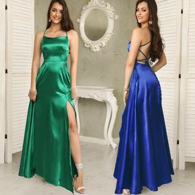 fb1b419e7a Elegante Vestido Largo De Fiesta Sin Espalda Falda Circular