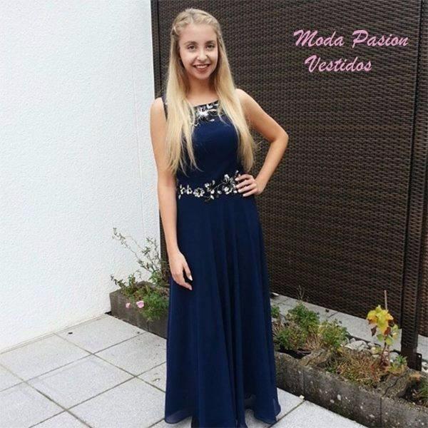 Vestido gasa largo azul