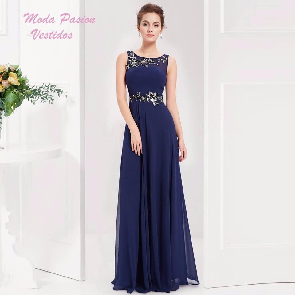 Vestido azul de noche largos