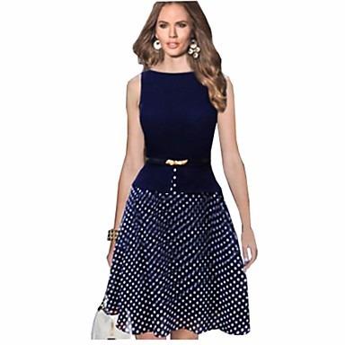 Elegante Vestido Línea A Azul De Chifon