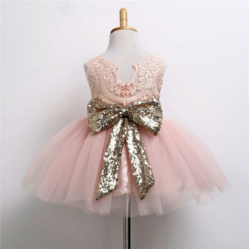 d1f4d090b Elegante Vestido Para Niña Coral Con Tutú Y Moño